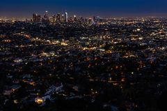 Los Angeles Skyline at Night wide angle stock photo