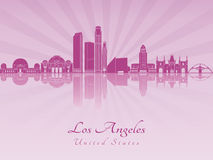 Los Angeles skyline in purple radiant orchid Stock Photos