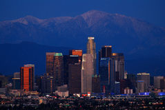 Los Angeles Skyline and the San Gabriel Mountains, Dusk Royalty Free Stock Photography