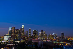Los Angeles Skyline Shortly Before Dawn. Los Angeles, USA - Novemeber 3, 2011: Los Angeles skyline with building identification in tack shortly before dawn on Stock Photo