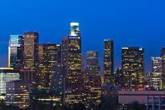 Los Angeles Skyline Shortly Before Dawn Royalty Free Stock Photography