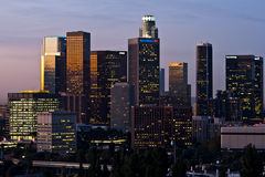 Los Angeles Skyline Shortly Before Dawn. Los Angeles, USA - November 3, 2011: Los Angeles skyline with building identification in tack shortly before dawn on Royalty Free Stock Photos
