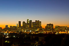 Los Angeles Skyline Shortly Before Dawn. Los Angeles, USA - November 3, 2011: Los Angeles skyline with building identification in tack shortly before dawn on Royalty Free Stock Image
