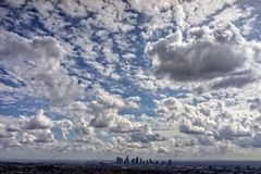 Los Angeles Skyline Silhouette and Cloudscape Stock Images