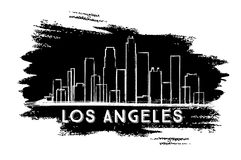Los Angeles Skyline Silhouette. Hand Drawn Sketch. Business Travel and Tourism Concept with Modern Architecture. Image for Presentation Banner Placard and Web Stock Photos