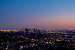 Los Angeles Skyline At Sunset. Los Angeles, USA - December 4, 2011: Los Angeles skyline and city scape with building identification intact at sunset on December Stock Photography
