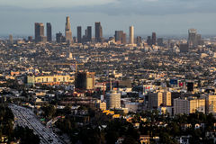 Los Angeles skyline at sunset. Skyline of L.A. at sunset Royalty Free Stock Images