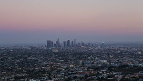 Los Angeles skyline at sunset. Skyscrapers in Los Angeles at sunset Stock Images