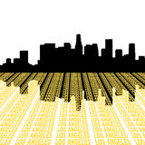 Los Angeles Skyline with text royalty free illustration