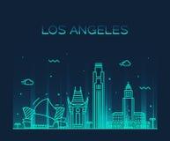 Los Angeles skyline vector illustration linear Stock Image