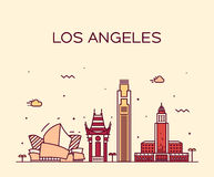 Los Angeles skyline vector illustration linear Royalty Free Stock Photos