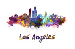 Los Angeles skyline in watercolor. Splatters with clipping path Stock Photos