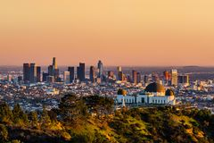 Los Angeles skyscrapers at sunset Stock Image