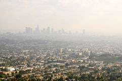 Los Angeles Smog. Downtown LA in Smog as seen from Griffith Park Stock Image