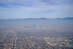 Los Angeles Smog. Downtown Los Angeles from the air viewed through a layer of smog pollution Royalty Free Stock Photos