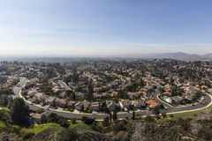Los Angeles Smog Porter Ranch Streets. View of smoggy streets in the Porter Ranch neighborhood of Los Angeles, California royalty free stock image