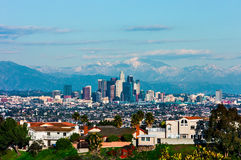 Los Angeles. With snowy mountains in the background Stock Photos