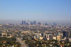 Los Angeles som är i stadens centrum från Hollywood royaltyfri fotografi