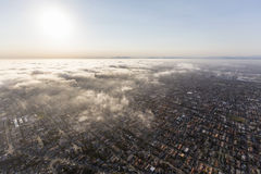 Los Angeles South Bay Fog Aerial Stock Photography