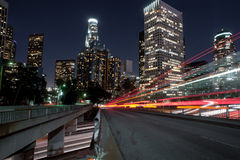 Los angeles speeding night lights Royalty Free Stock Photo