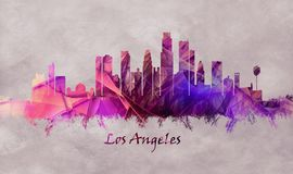 Los Angeles City in California, skyline vector illustration