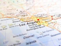 Los Angeles-Stadt über einer Straßenkarte USA Stockbild