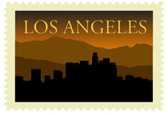 Los Angeles Stamp. Los Angeles city high-rise buildings skyline on stamp Stock Image