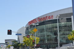 Los Angeles Staples Center i i stadens centrum LA Arkivbild