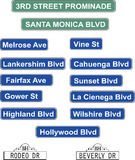 Los Angeles Street Signs. Street signs from around Los Angeles, Hollywood and Beverly Hills Royalty Free Stock Image