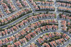Los Angeles Suburban Neighborhood Aerial. Aerial view of tightly packed homes in the Porter Ranch neighborhood of Los Angeles, California Stock Photography