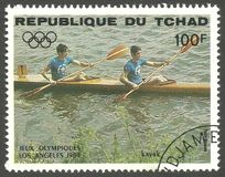 Los Angeles Summer Olympics, Kayaking. Chad - stamp printed 1984, Multicolor Edition with offset printing, Topic Water Sports at the Olympics, Series 1984 Los Stock Image