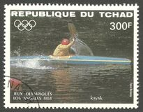 Los Angeles Summer Olympics, Single competition. Chad - stamp printed 1984, Multicolor Edition with offset printing, Topic Water Sports at the Olympics, Series Stock Photo