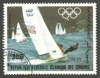 Los Angeles Summer Olympics, Type 470. Comoros - stamp printed 1983, Multicolor Air Mail Edition of offset printing with Topic Sport and Olympic Games, Series Royalty Free Stock Image