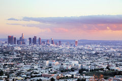 Los Angeles Sunset. Downtown Los Angeles right before sunset Royalty Free Stock Images