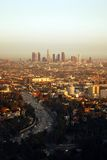 Los Angeles at Sunset. Aerial view of Los Angeles and the 101 Freeway at sunset Royalty Free Stock Images