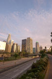 Los Angeles at sunset. Los Angeles skyline and highway at sunset Stock Photography