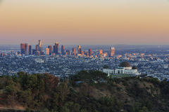 Los Angeles Sunset Cityscape, Griffin Observatory. Los Angeles downtown Sunset Cityscape with Griffin Observatory, California Royalty Free Stock Photo