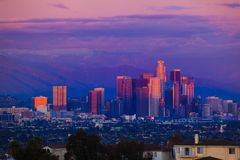 Los Angeles sunset. Downtown Los Angeles at sunset Stock Photography