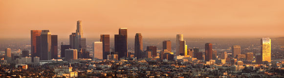 Los Angeles Sunset Panorama Stock Photography