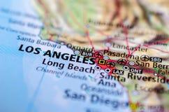 Los Angeles sur la carte photos stock