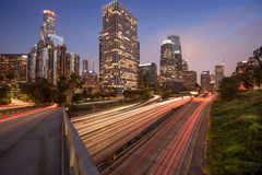 Los Angeles traffic. Downtown Los Angeles at night with car traffic light trails Stock Image