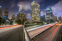 Los Angeles traffic. Downtown Los Angeles at night with car traffic light trails Royalty Free Stock Photography