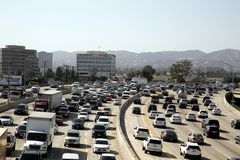 Traffic on 405 Freeway Los Angeles CA Royalty Free Stock Images