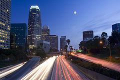 Los Angeles under the moonligh. Los Angeles City skyline and freeway under the moonlight Stock Images