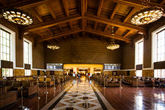 Los Angeles Union Station Waiting Area. The restored art deco interior of Union Station in Los Angeles, California, USA Stock Photo