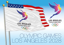 LOS ANGELES, UNITED STATES OF AMERICA - August 2028, Summer Olympic Games 2028 flag and logo with US flag. Vector file, illustration Stock Photo