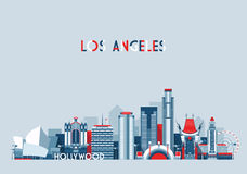 Los Angeles United States City Skyline Flat Royalty Free Stock Images