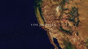 Los Angeles - United States Zoom In From Space. Zoom to geographic earth from space 4K Resolution animation stock video