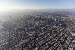 Los Angeles Urban Smog Aerial. Aerial view of urban smog and sprawl in downtown Los Angeles, California Royalty Free Stock Photos
