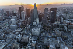 Los Angeles Urban Sunset Aerial Royalty Free Stock Photo